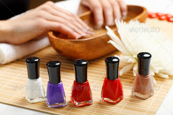 Woman is getting manicure - Stock Photo - Images