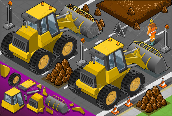 GraphicRiver Isometric Yellow Bulldozer in Front View 4643252