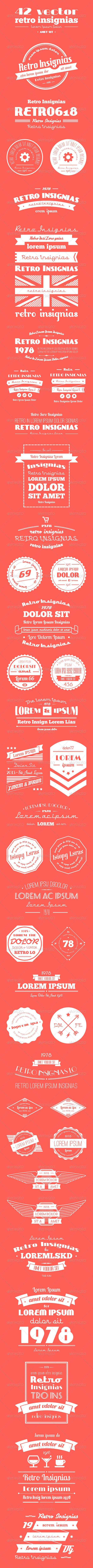 42 Vector Retro Insignias Banners and Badges