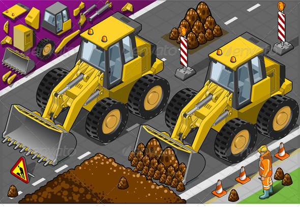 GraphicRiver Isometric Yellow Bulldozer in Rear View 4643297