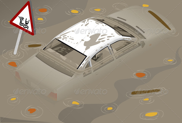 GraphicRiver Isometric White Car Flooden in Rear View 4643324