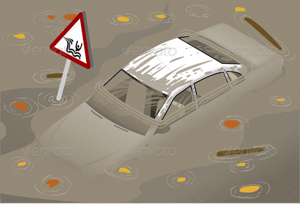 Isometric White Car Flooden in Front View