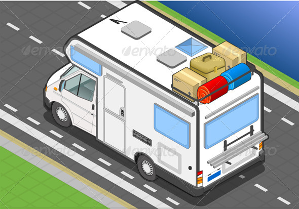GraphicRiver Isometric Camper on the Way in Rear View 4643414
