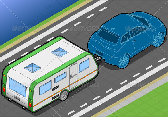 GraphicRiver Isometric Roulotte on the Way in Rear View 4643439