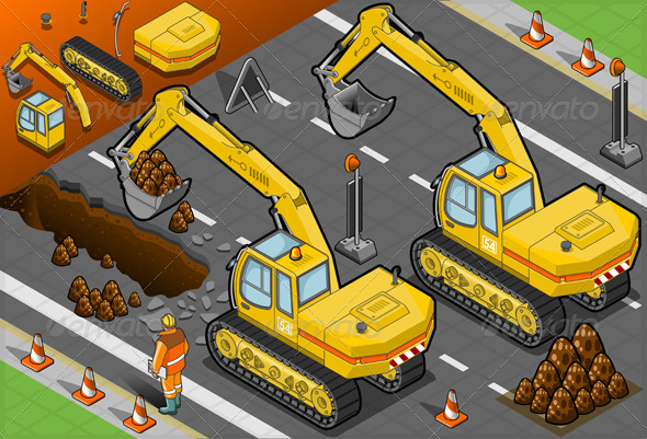 GraphicRiver Isometric Yellow Excavator in Rear View 4643505