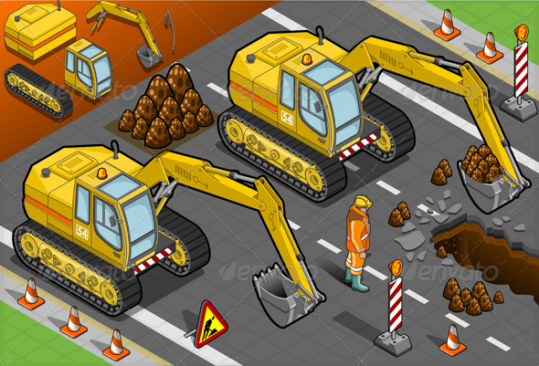GraphicRiver Isometric Yellow Excavator in Front View 4643528