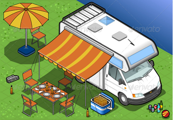 GraphicRiver Isometric Camper in Camping in Front View 4643543