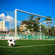 soccer ball on green grass in front of goal net - PhotoDune Item for Sale