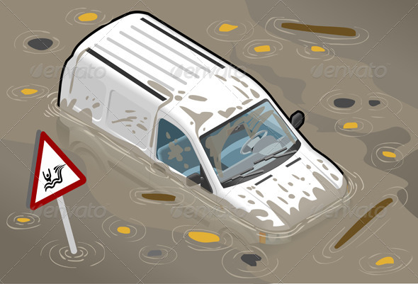 GraphicRiver Isometric White Van Flooded in Front View 4643646