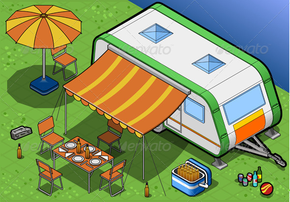 GraphicRiver Isometric Roulotte in Camping in Front View 4643663