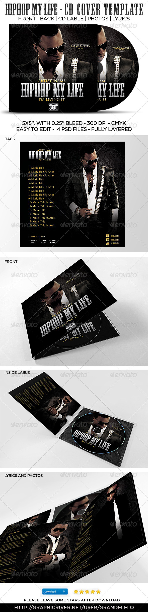 GraphicRiver Hip Hop My Life CD Cover Template 4577600