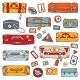 Vintage Suitcases Set. Travel Vector Illustration. - GraphicRiver Item for Sale