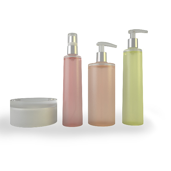 Set of 3 Plastic Bottles and Pot - 3DOcean Item for Sale