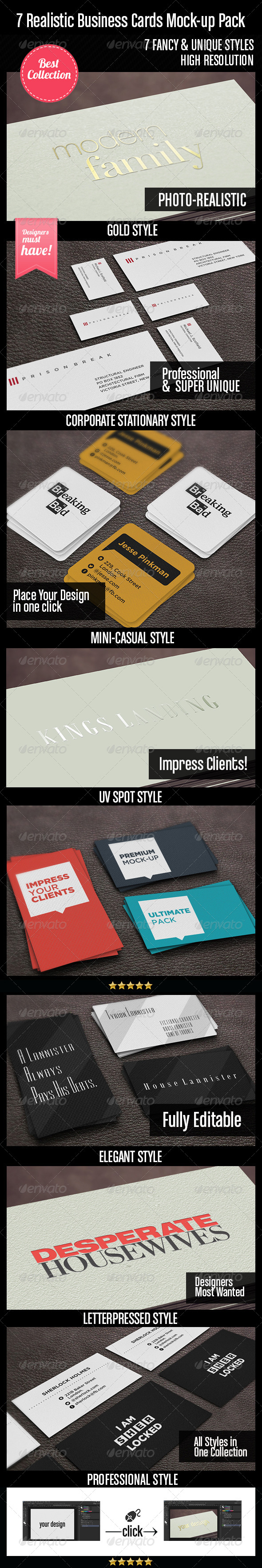 GraphicRiver 7 Realistic Business Cards Mock-up Pack 4508809