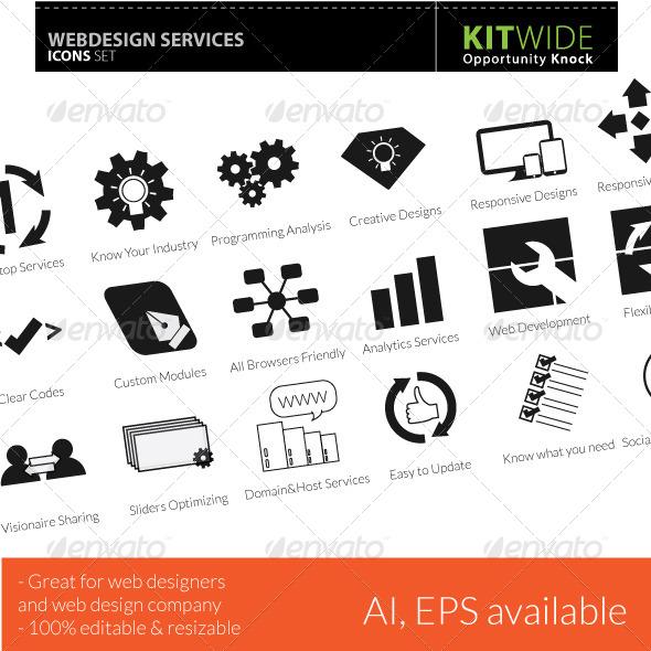 GraphicRiver Web Design Services Icons Set 4644727