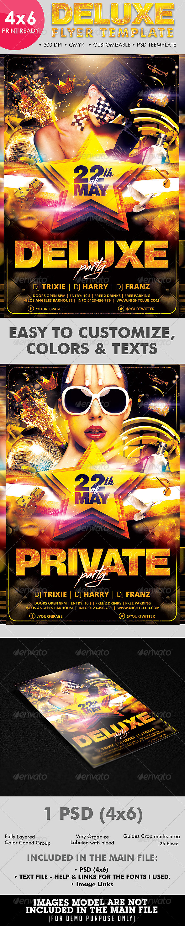 Deluxe | Private | Golden Flyer Template - Clubs & Parties Events