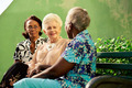 Group of elderly black and caucasian women talking in park - PhotoDune Item for Sale