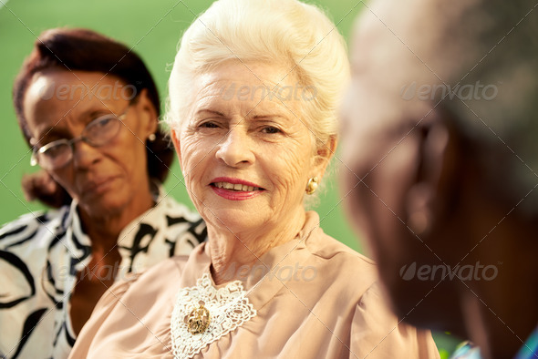 Group of elderly black and caucasian women talking in park - Stock Photo - Images