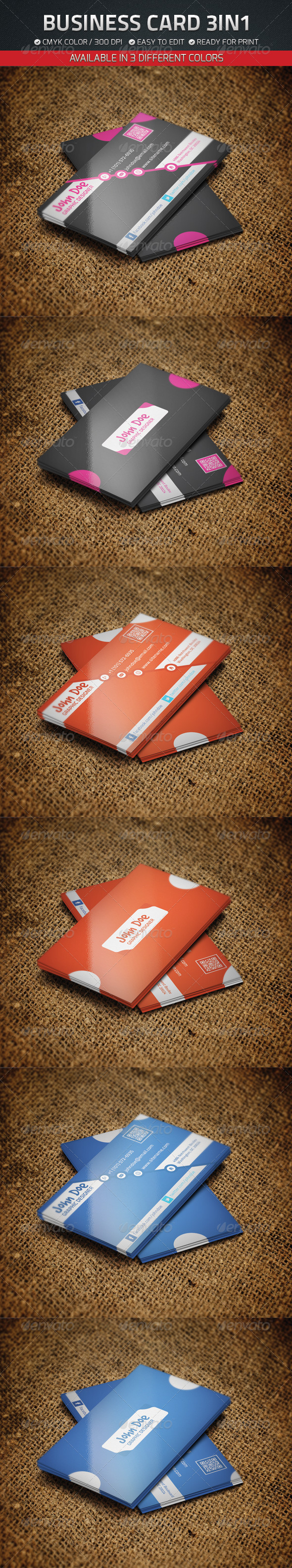 GraphicRiver Business Card 3 in 1 4646715