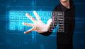 Businessman pressing virtual type of keyboard