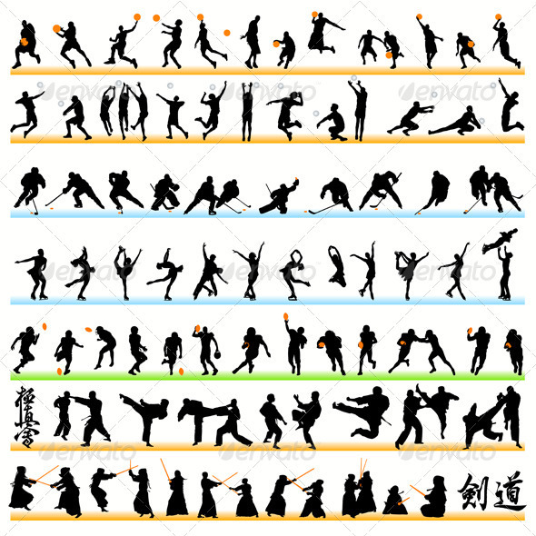 GraphicRiver 90 Sport Silhouettes Set 486045