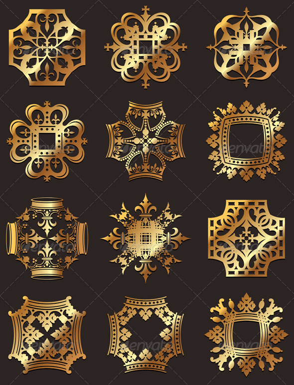 GraphicRiver Golden Crown Symbols 4649460