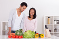 Couple Chopping Vegetables - PhotoDune Item for Sale
