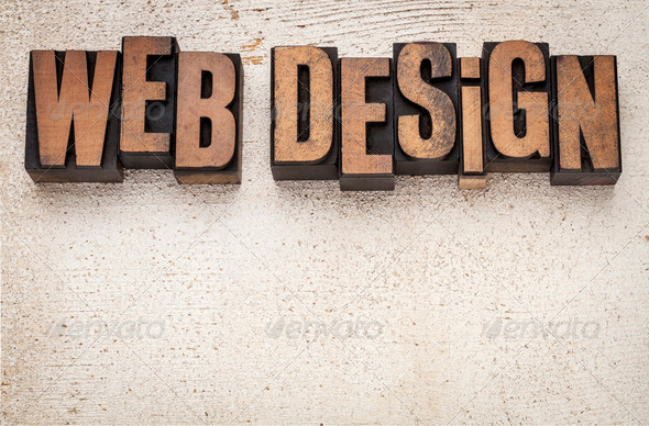 web design in wood type - Stock Photo - Images