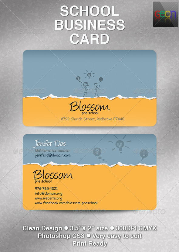 GraphicRiver School Business Card Excellent for Teachers 4650366