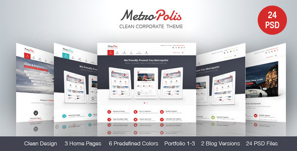 Metropolis – Clean Corporate PSD Theme (Business) images