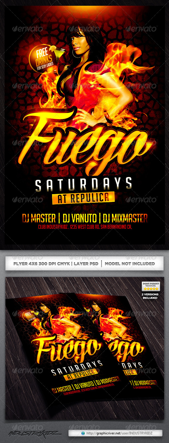 GraphicRiver Fuego Saturdays Flyer Template 4651172