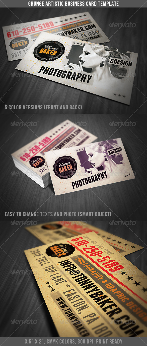 GraphicRiver Grunge Artistic Business Card 4651534