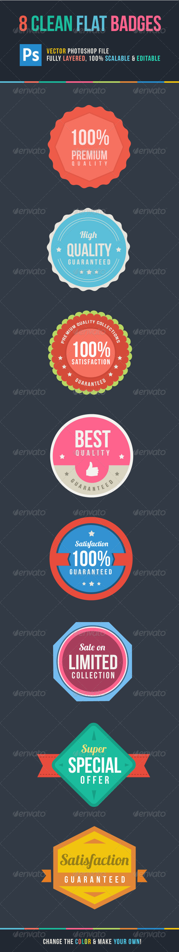 GraphicRiver 8 Clean Flat Badges 4638438