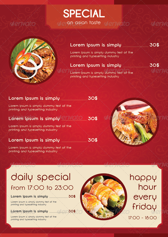 A4 asian style food menu by tuancfs graphicriver for Asia asian cuisine menu