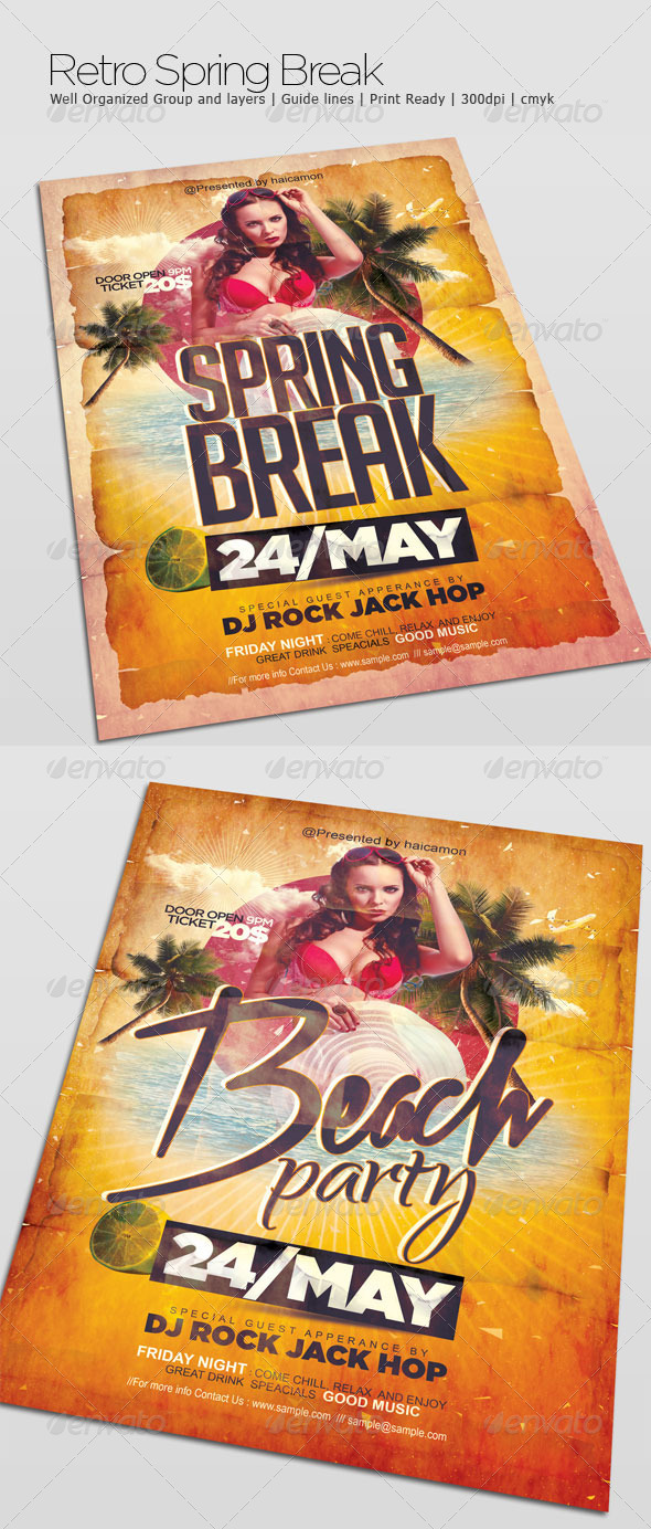 Retro Spring Break - Flyers Print Templates