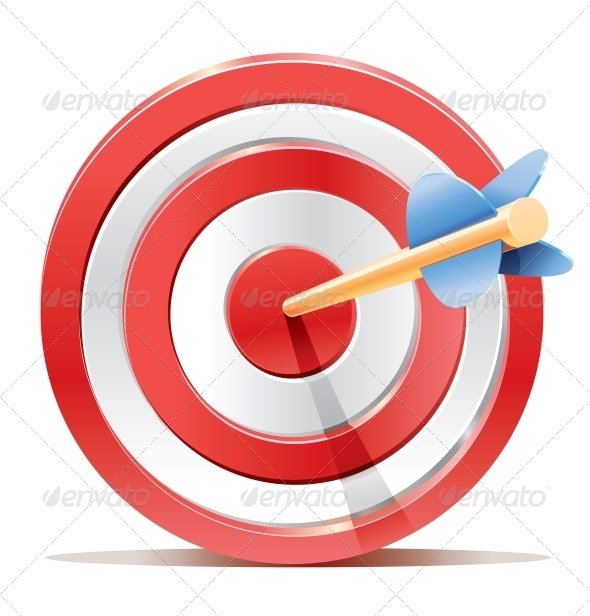 GraphicRiver Red Dart Target Aim and Arrow 4652732