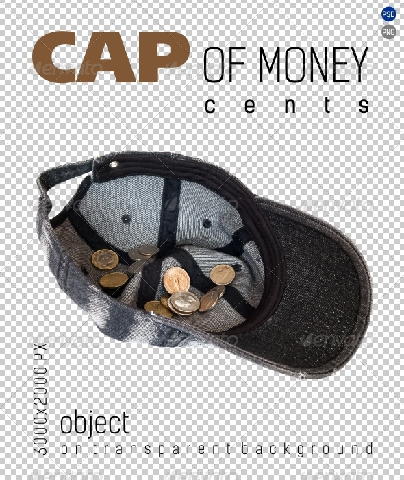 Cap of Money coins cents on Transparent Backgrou