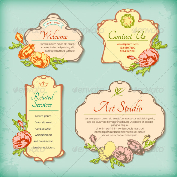 GraphicRiver Set of Vintage Antique Styled Labels with Flowers 4653524