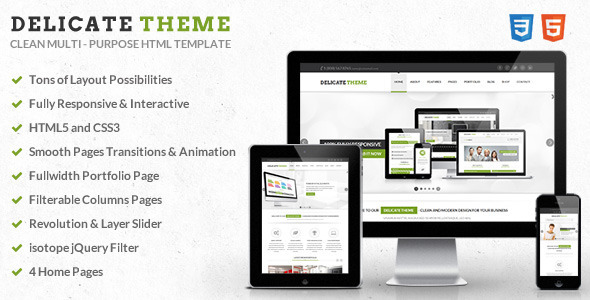 ThemeForest Delicate Responsive Multipurpose HTML5 Template 4653651
