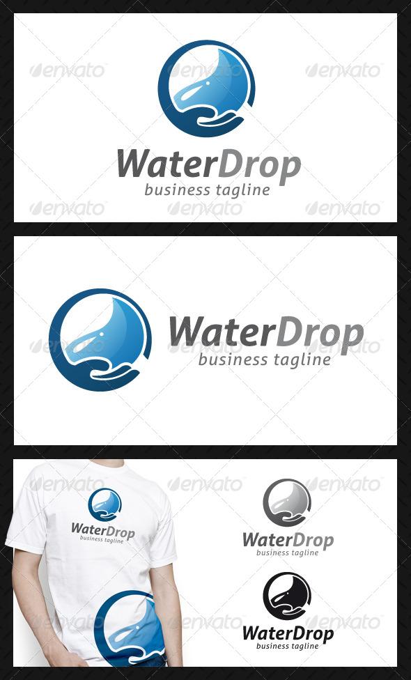 Water Drop Hand Logo Template