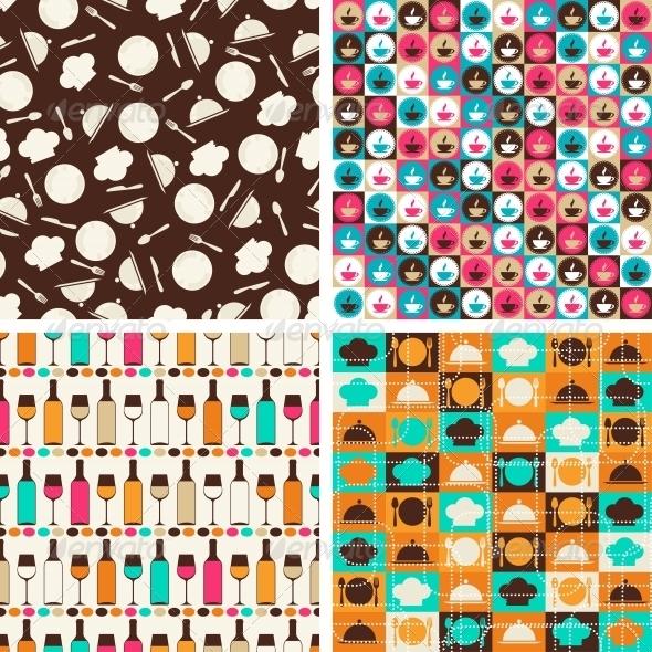 GraphicRiver Seamless Retro Kitchen Pattern 4653993