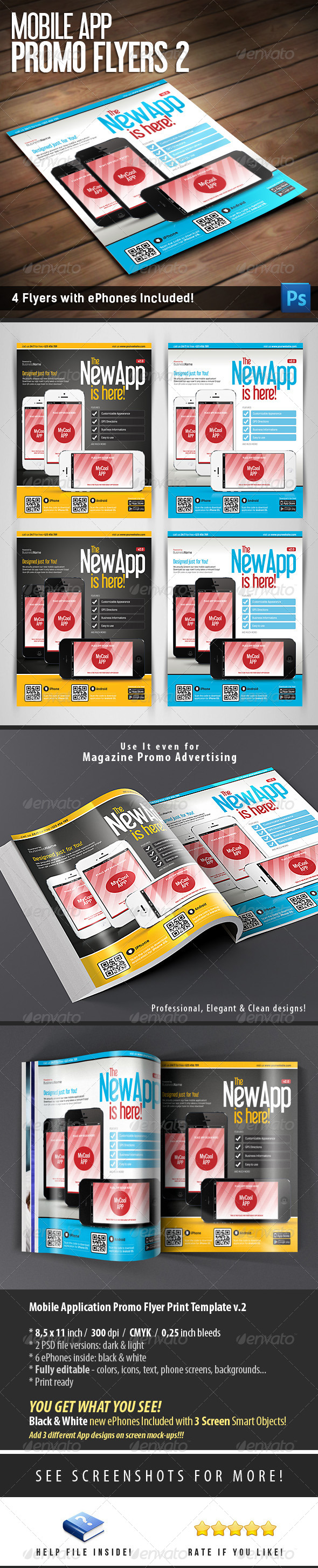 Mobile App Flyers Template v.2 - Flyers Print Templates
