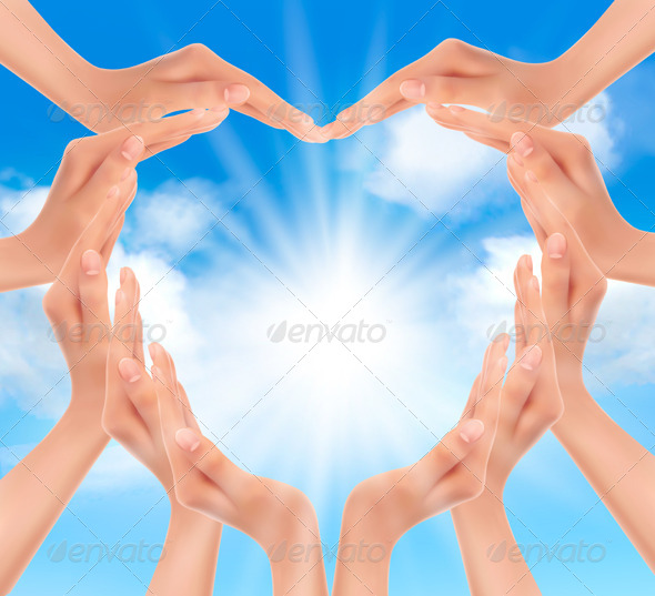 GraphicRiver Hands Holding the Sun 4655405