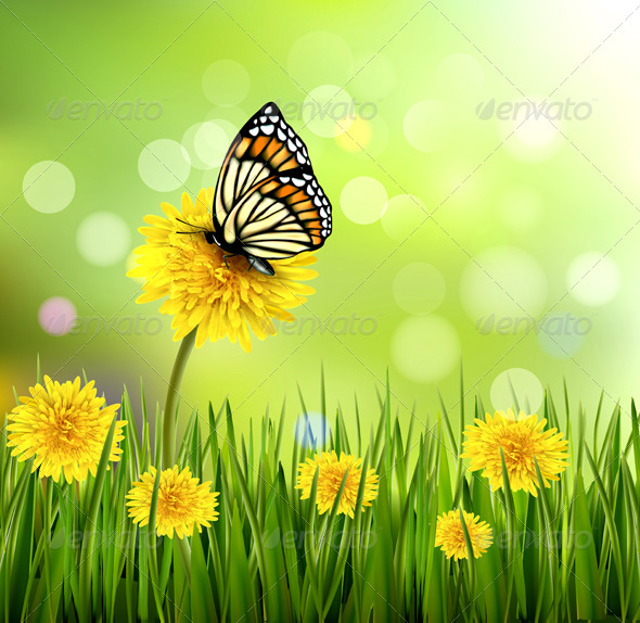 GraphicRiver Green Summer Background with Dandelions 4655429