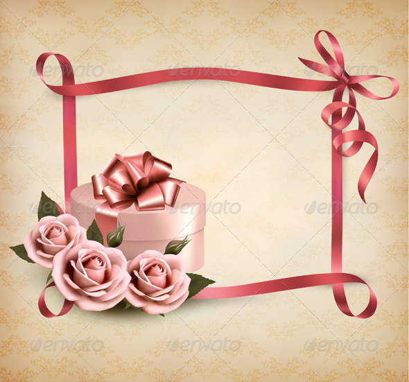 GraphicRiver Holiday Background with Three Roses and Gift Box 4655432