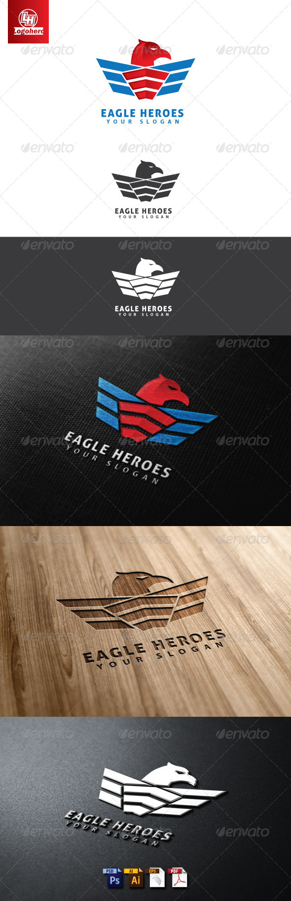 GraphicRiver Eagle Heroes Logo Template 4655435