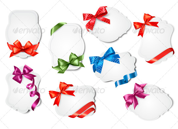 Set of Gift Cards with Colorful Gift Bows