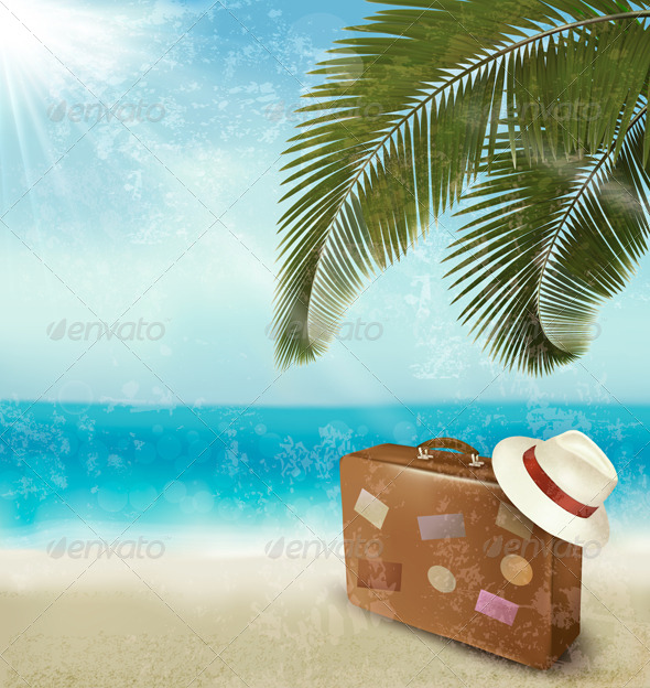 GraphicRiver Vintage Seaside Background with Suitcase 4655523