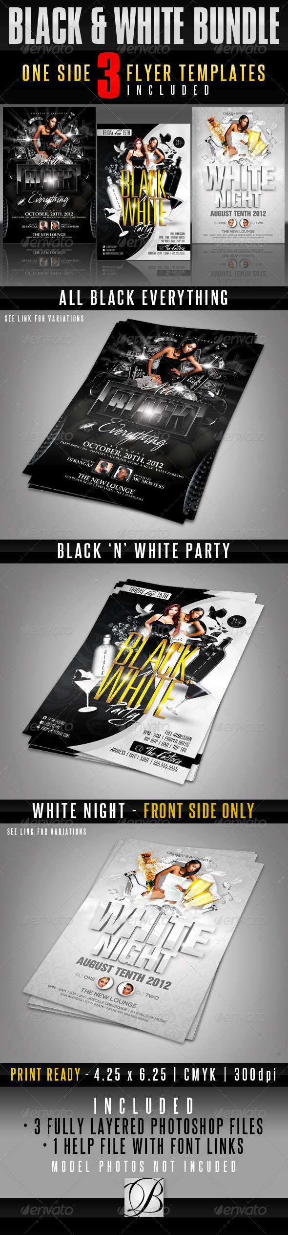 GraphicRiver Black and White Party Flyer Bundle 4655612