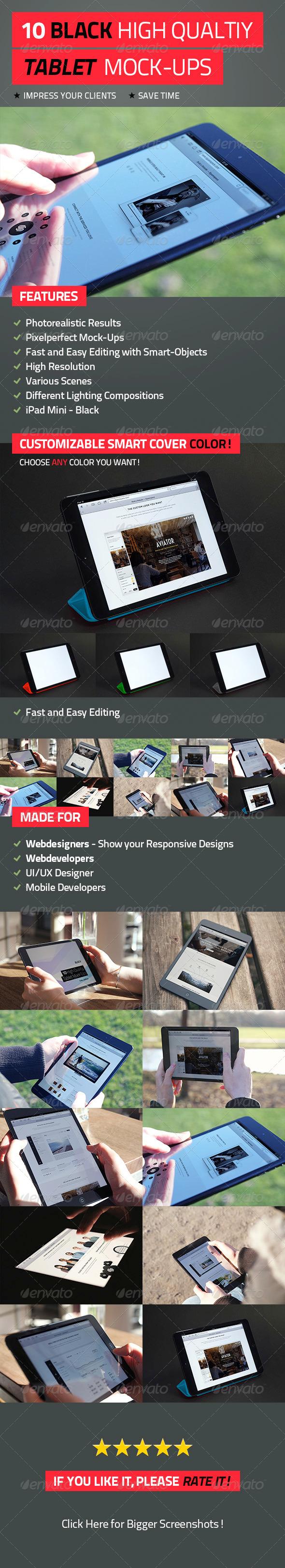 GraphicRiver 10 Black High Quality Tablet Mock-Ups 4596268
